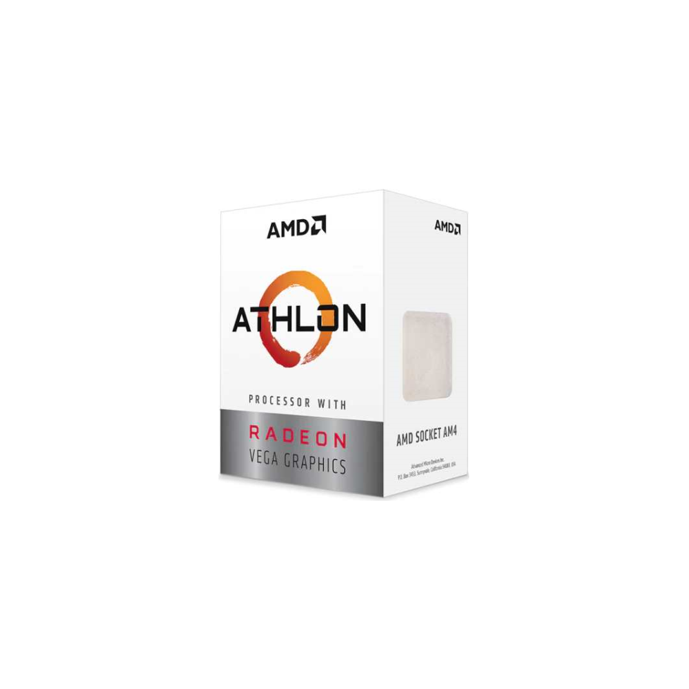 A large main feature product image of AMD Athlon 3000G 2 Core 4 Thread Up To 3.5Ghz AM4 APU Retail Box - With Fan