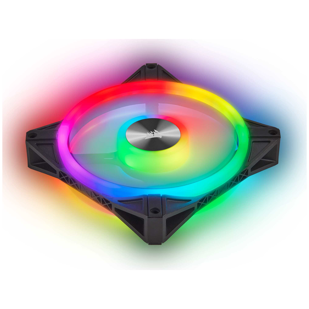 A large main feature product image of Corsair iCue QL120 120mm RGB PWM Single Fan