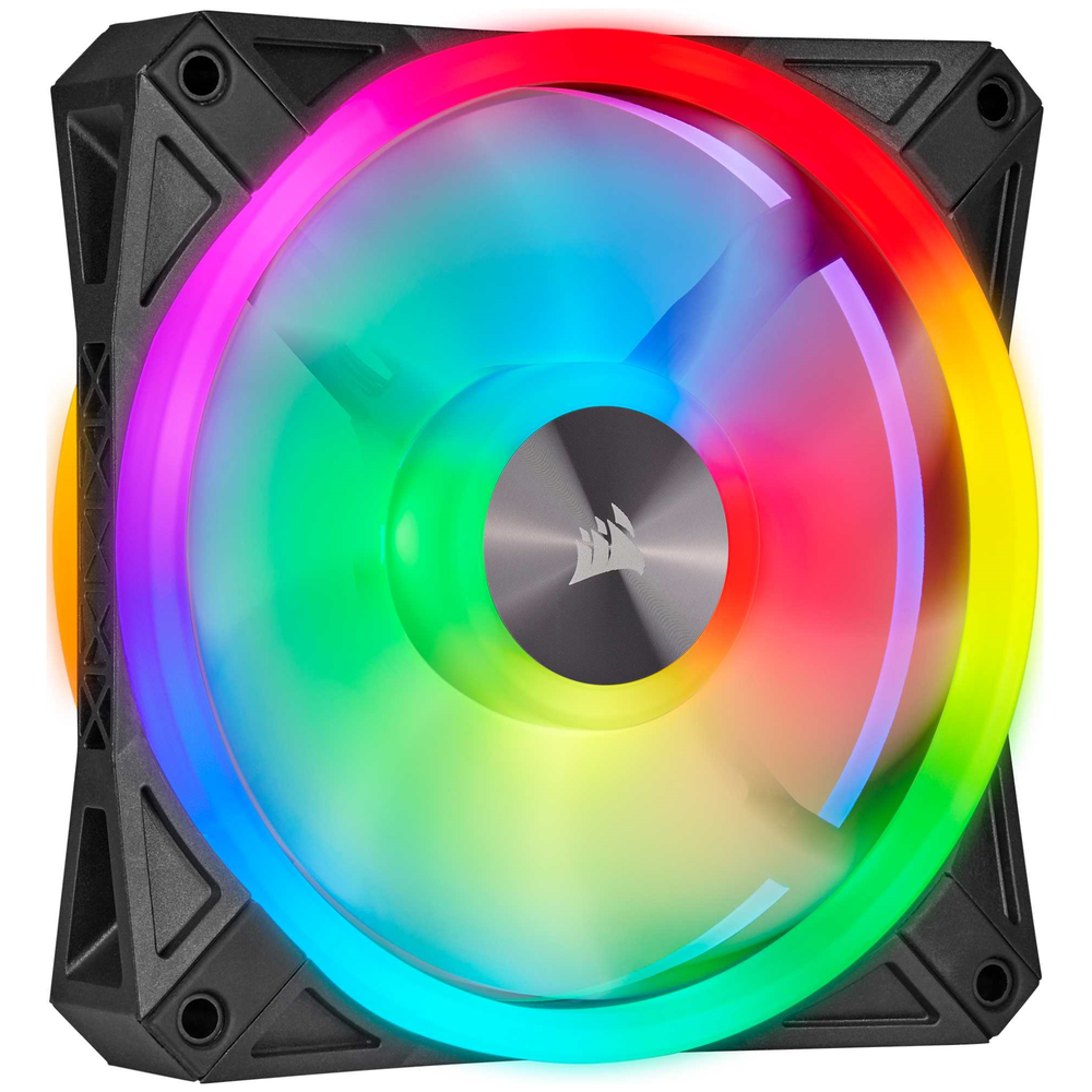 A large main feature product image of Corsair iCue QL120 120mm RGB PWM Triple Fan Pack