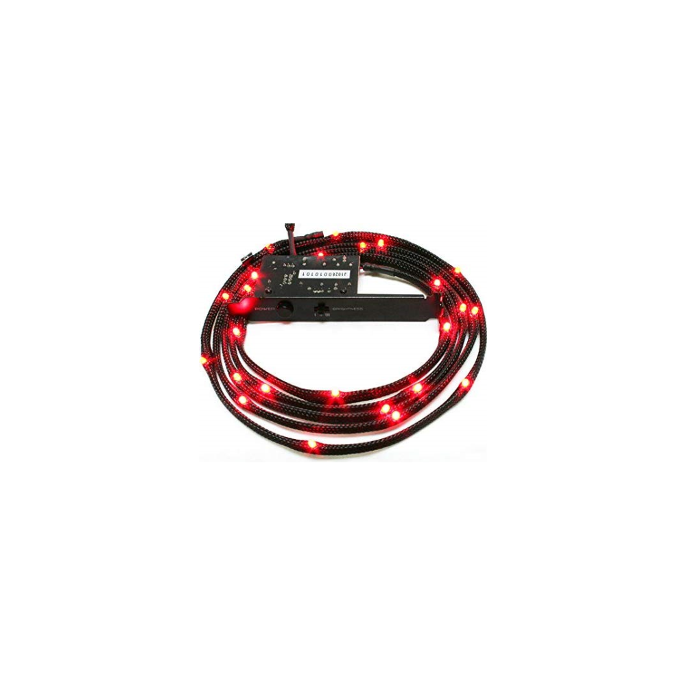 A large main feature product image of NZXT Sleeved Red LED Cable 100CM