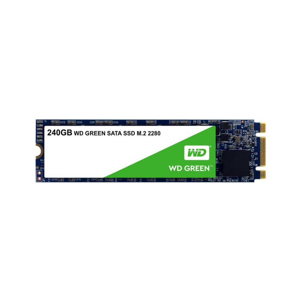 A large main feature product image of WD Green 240GB 3D NAND M.2 SSD