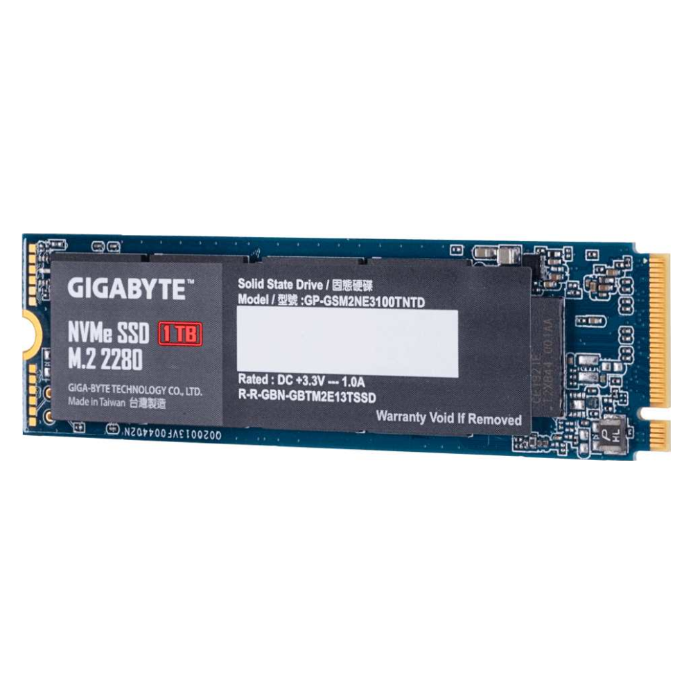 A large main feature product image of Gigabyte 1TB M.2 NVMe SDD