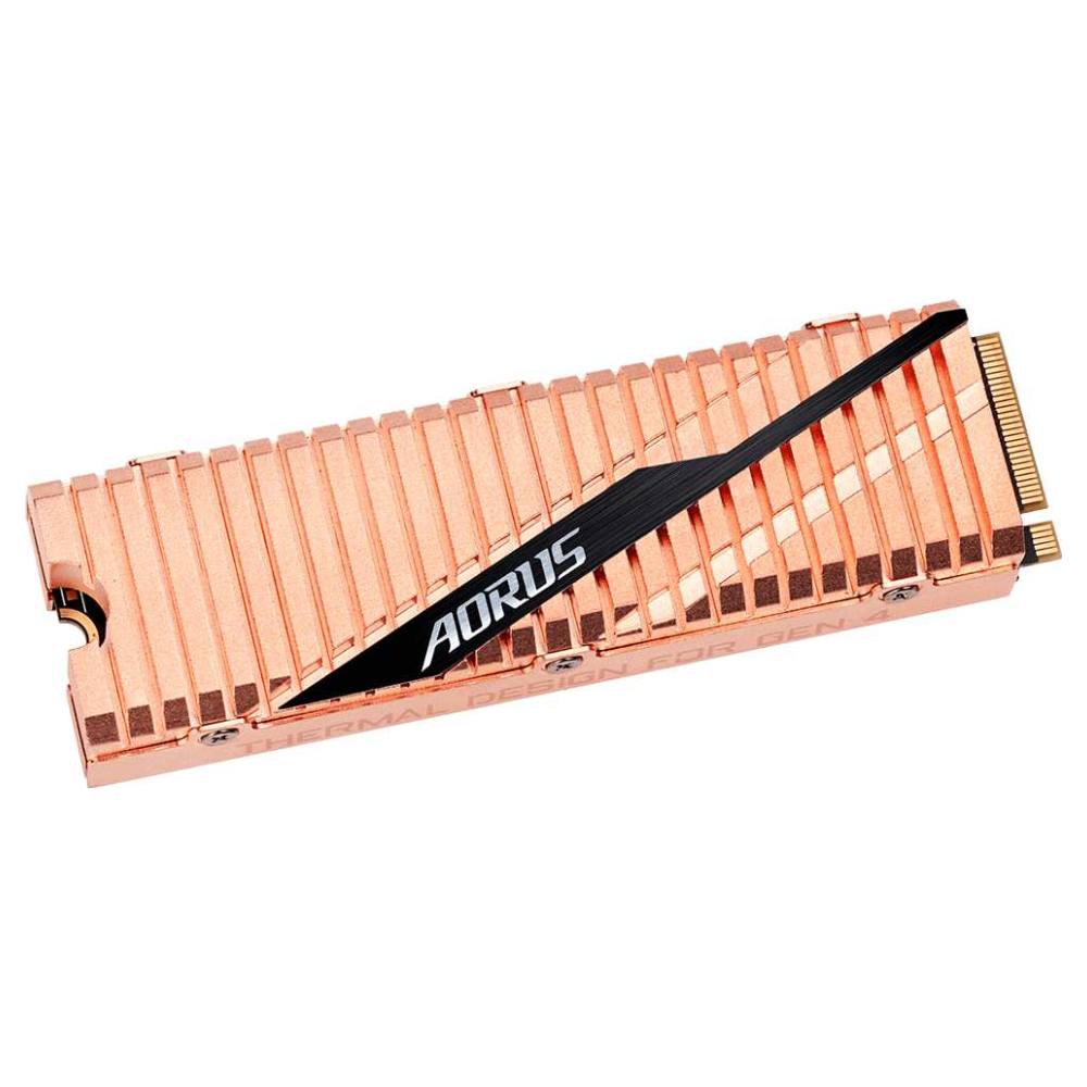 A large main feature product image of Gigabyte AORUS 500GB Gen 4 M.2 NVMe SSD