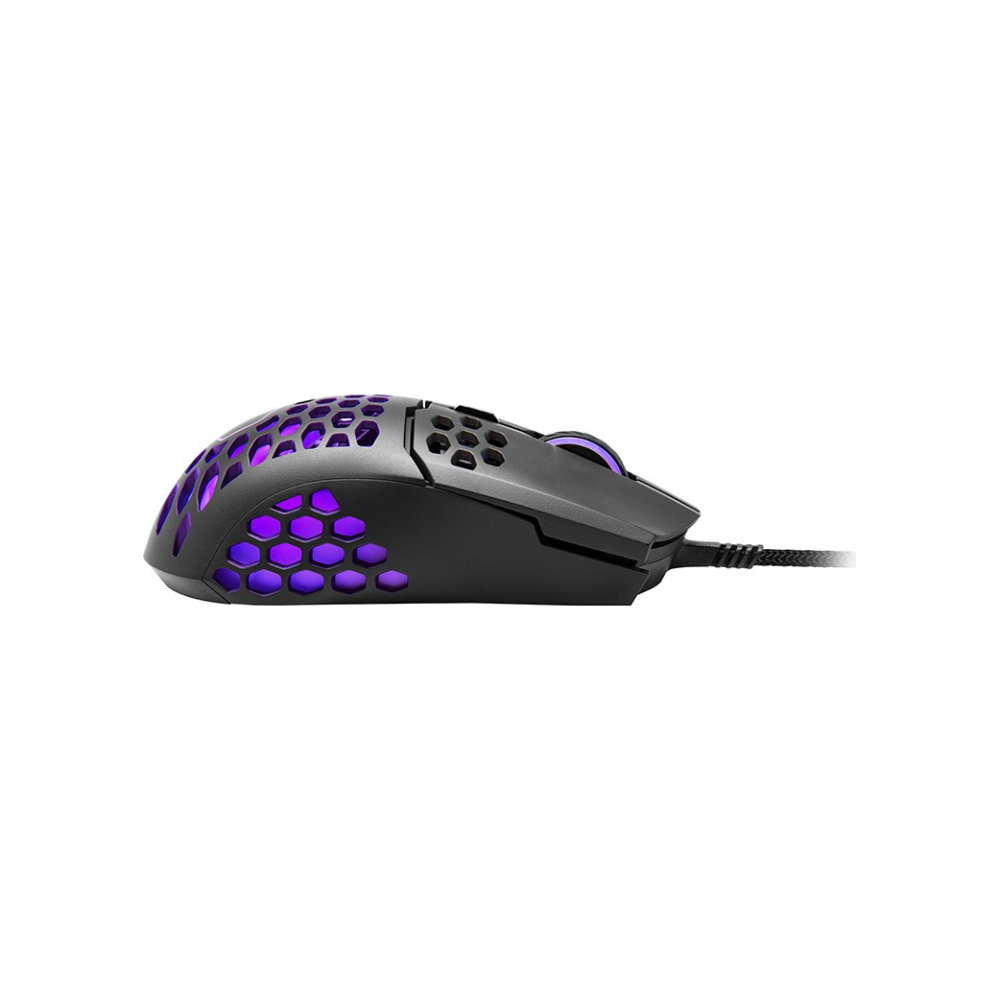 A large main feature product image of Cooler Master MasterMouse MM711 Matte Black RGB Lightweight Gaming Mouse