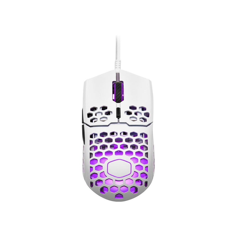 A large main feature product image of Cooler Master MasterMouse MM711 Matte White RGB Lightweight Gaming Mouse