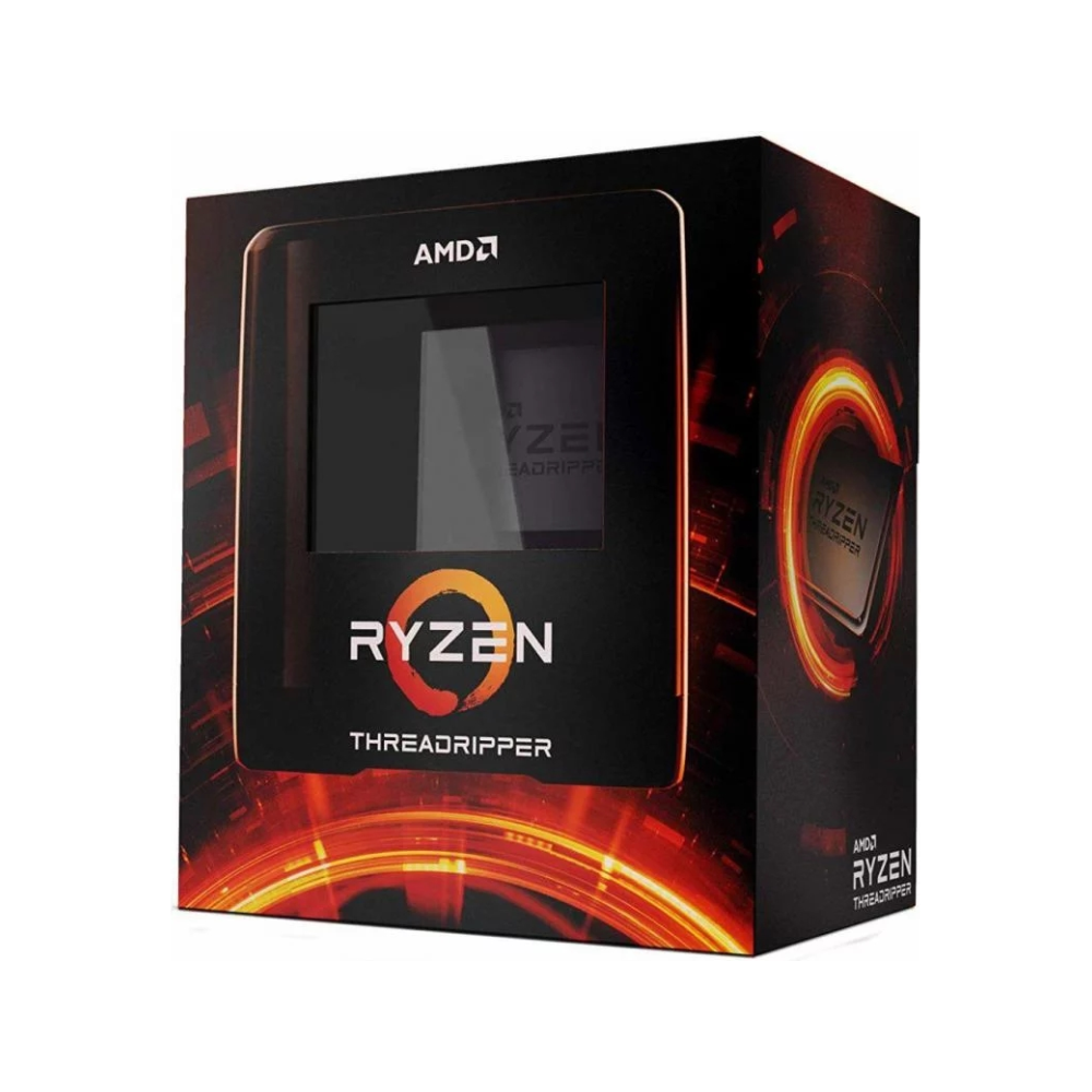 A large main feature product image of AMD Ryzen Threadripper 3970X 32 Core 64 Thread Up To 4.5Ghz 128MB sTRX4 Processor - No HSF Retail Box