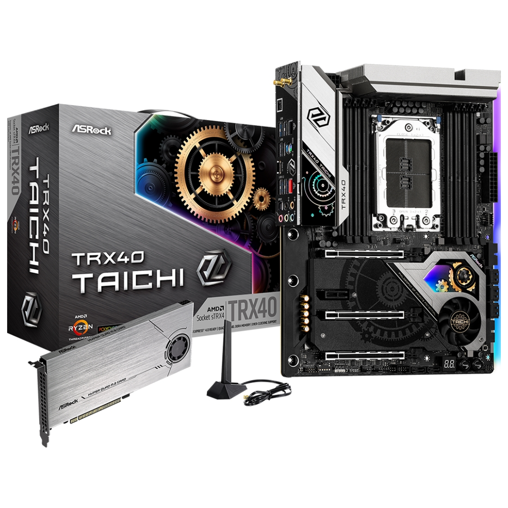 A large main feature product image of ASRock TRX40 Taichi sTRX4 ATX Desktop Motherboard