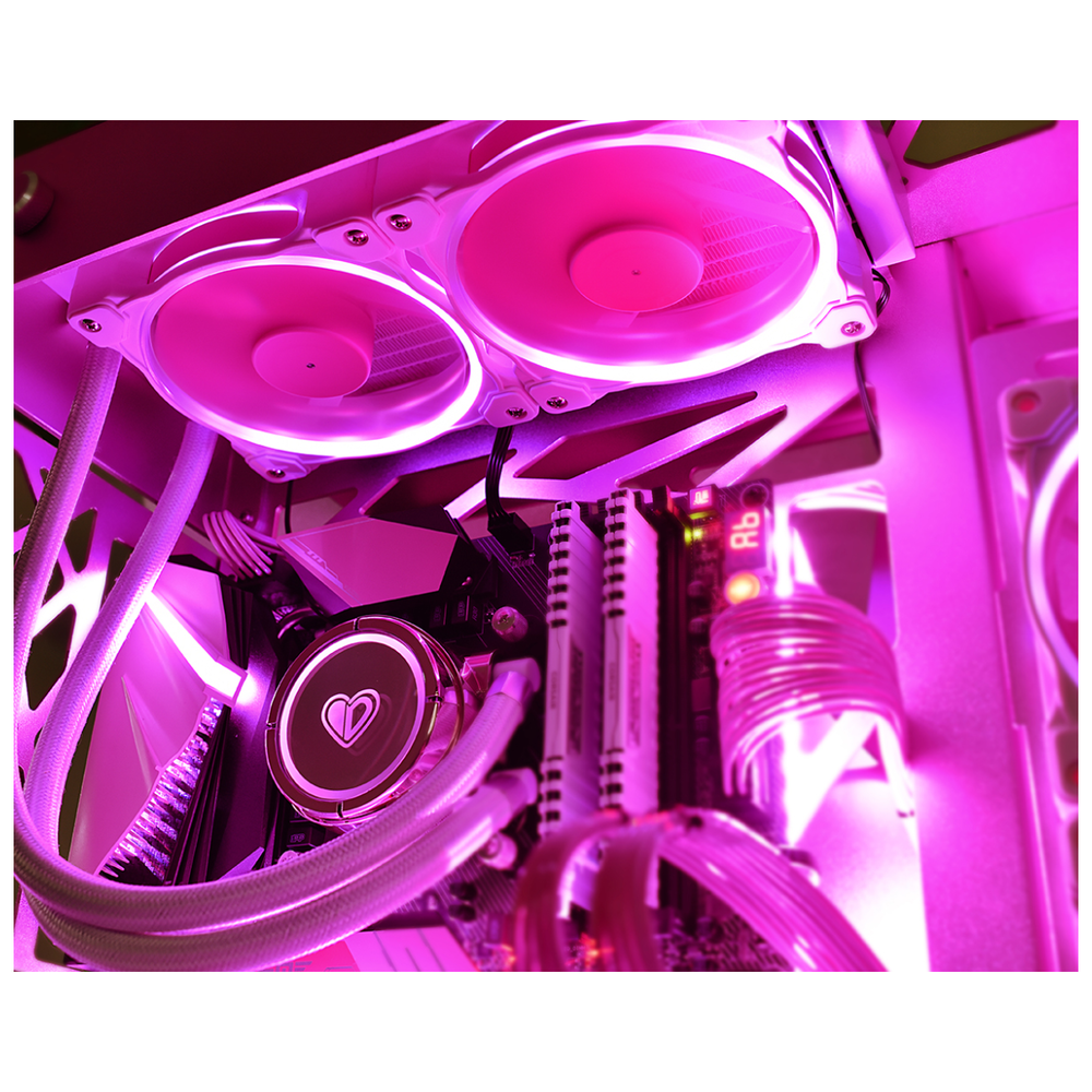 A large main feature product image of ID-COOLING PinkFlow 240 Addressable RGB AIO CPU Liquid Cooler