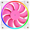 A product image of ID-COOLING ZF Series 120mm Pink Addressable RGB LED Fan