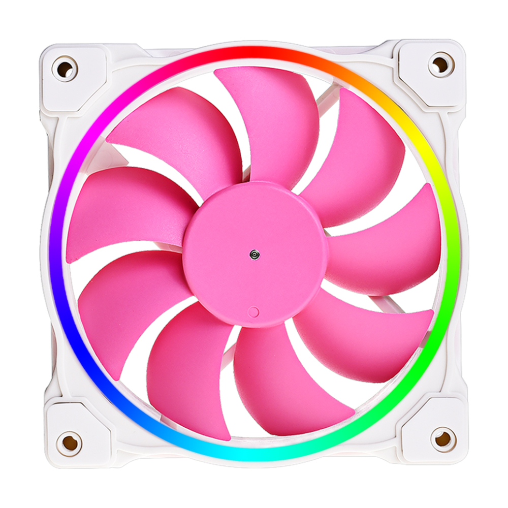 A large main feature product image of ID-COOLING ZF Series 120mm Pink Addressable RGB LED Fan