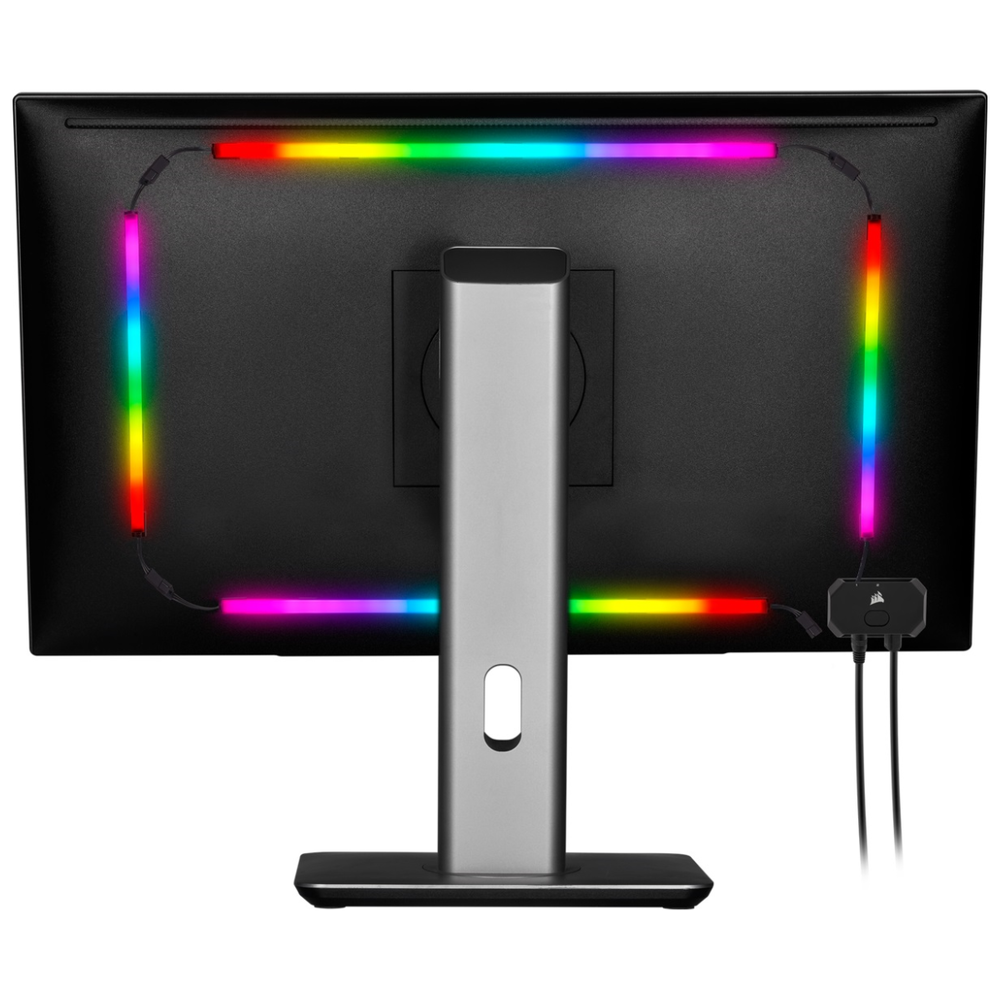A large main feature product image of Corsair LS100 iCue Ambient Lighting Starter Kit