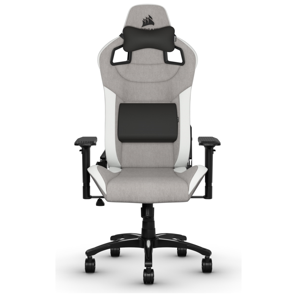 A large main feature product image of Corsair T3 RUSH Gaming Chair - Grey/White