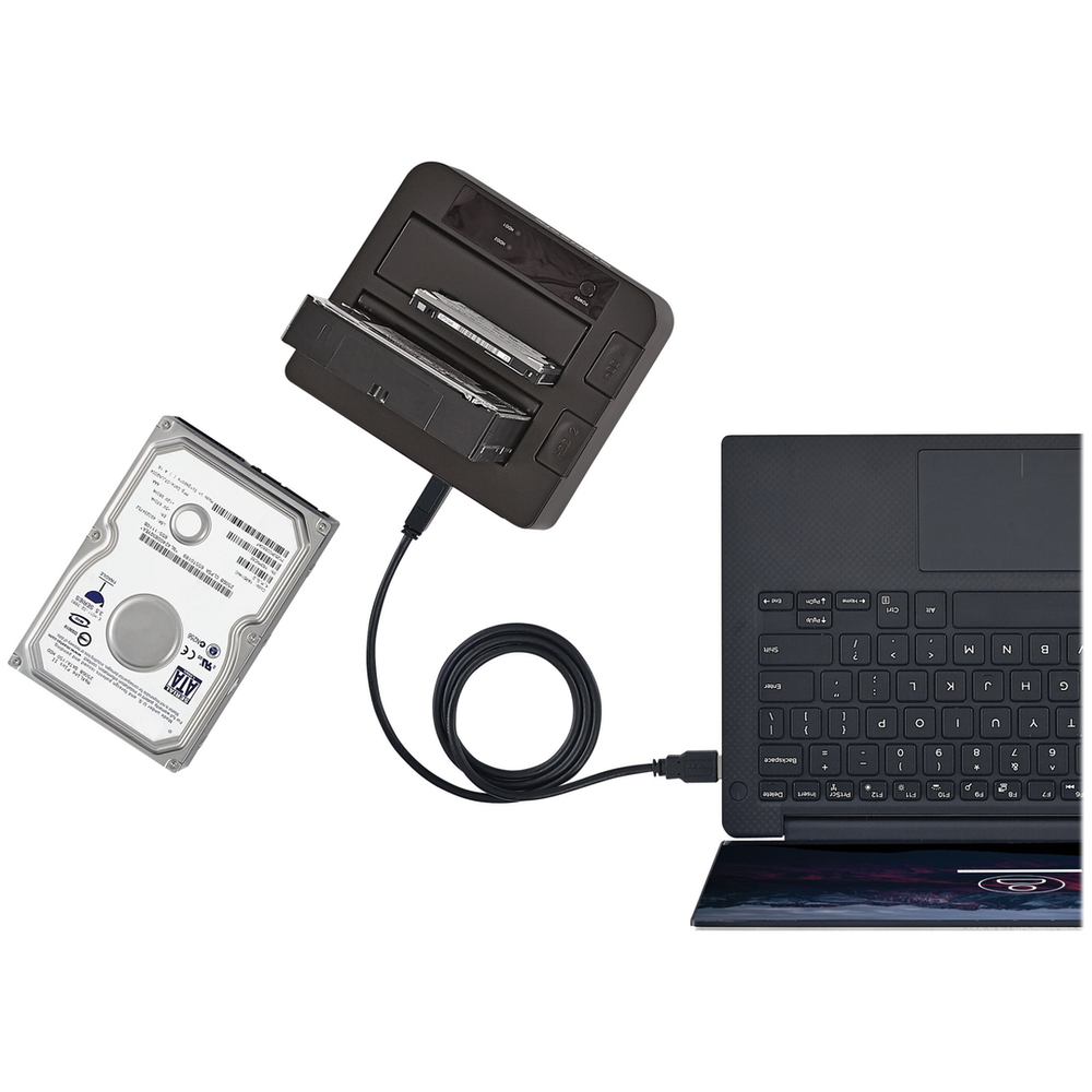A large main feature product image of Startech 2-bay USB 3.1 SATA dock with UASP - Tool-free & trayless