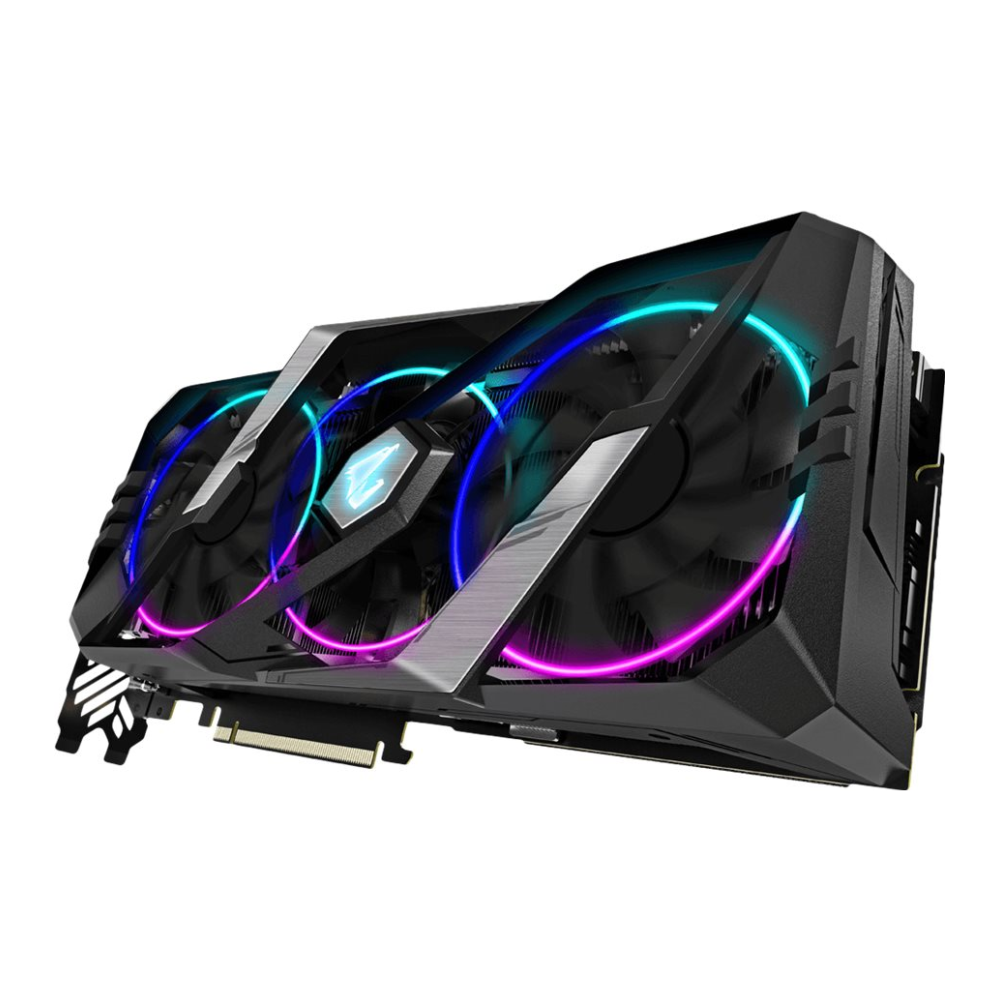 A large main feature product image of Gigabyte GeForce RTX2080 Super Aorus 8GB GDDR6
