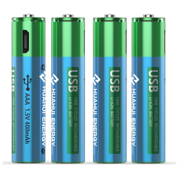 Product image of HUAHUI Four AAA USB Rechargeable Lithium 600mWh Battery Pack - Click for product page of HUAHUI Four AAA USB Rechargeable Lithium 600mWh Battery Pack