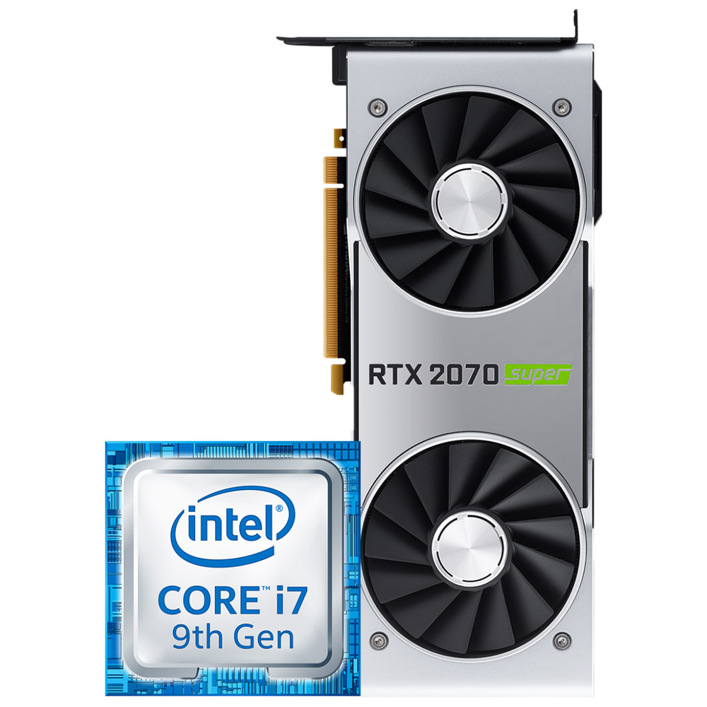A large main feature product image of Intel i7 & Nvidia RTX 2070 Super Merchandise Promotion