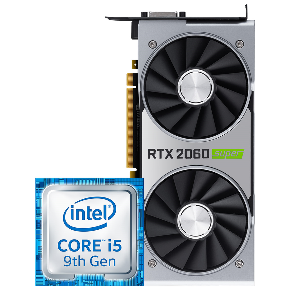 A large main feature product image of Intel i5 & Nvidia RTX 2060 Super Merchandise Promotion