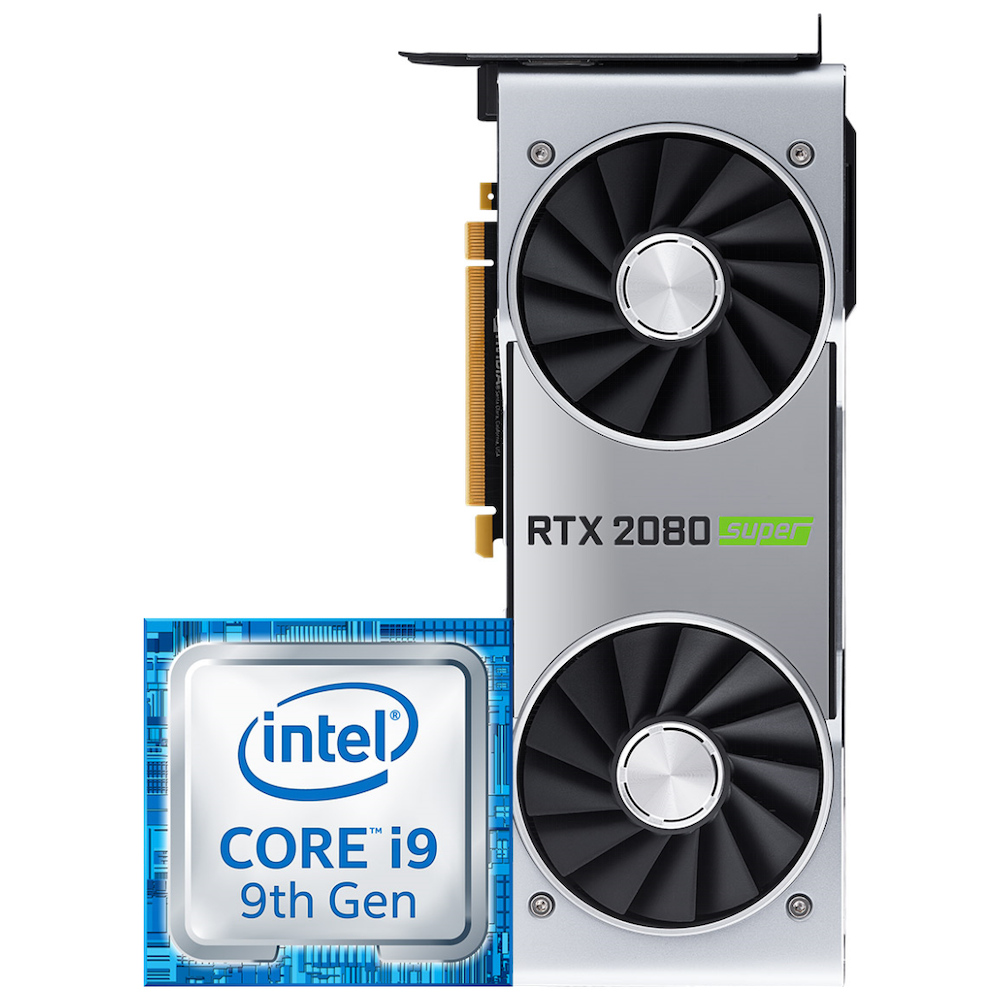 A large main feature product image of Intel i9 & Nvidia RTX 2080 Super Merchandise Promotion