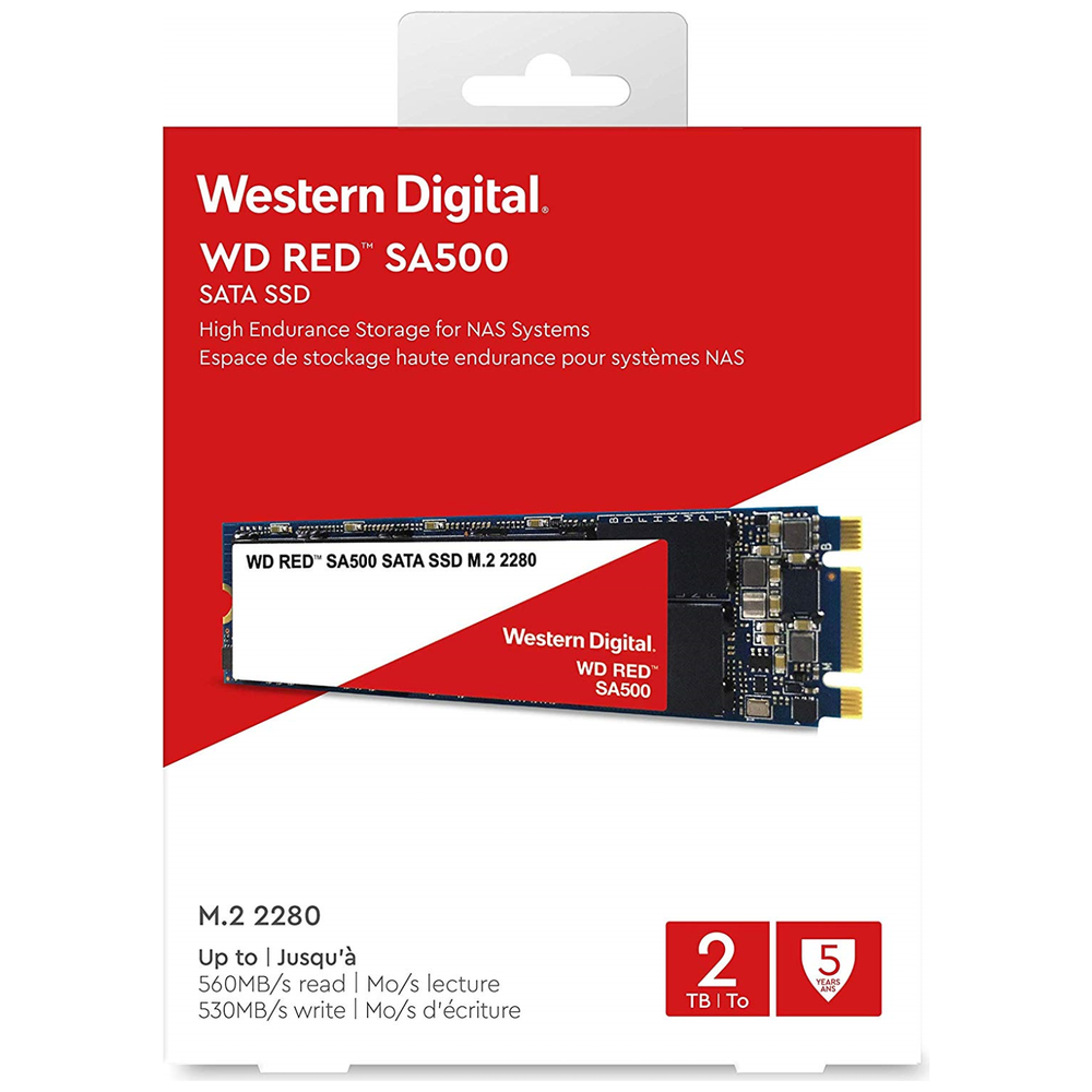 A large main feature product image of WD Red SA500 M.2 2TB NAS SSD