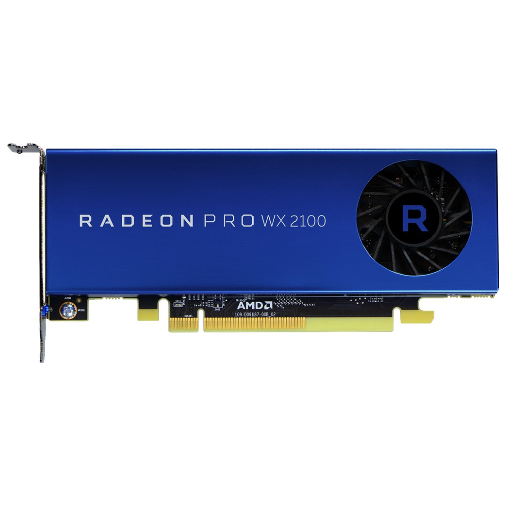 A large main feature product image of AMD Radeon Pro WX 2100 2GB GDDR5