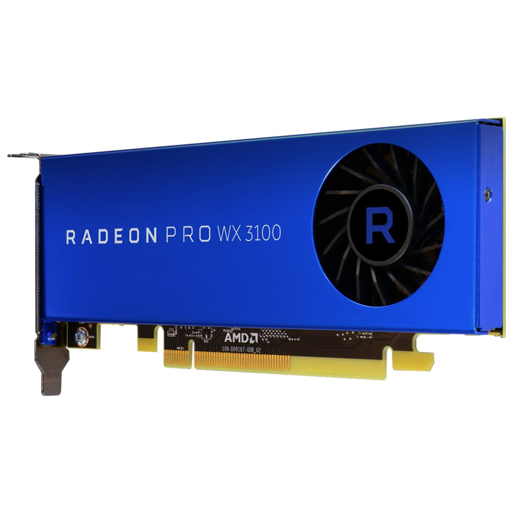 A large main feature product image of AMD Radeon Pro WX 3100 4GB GDDR5