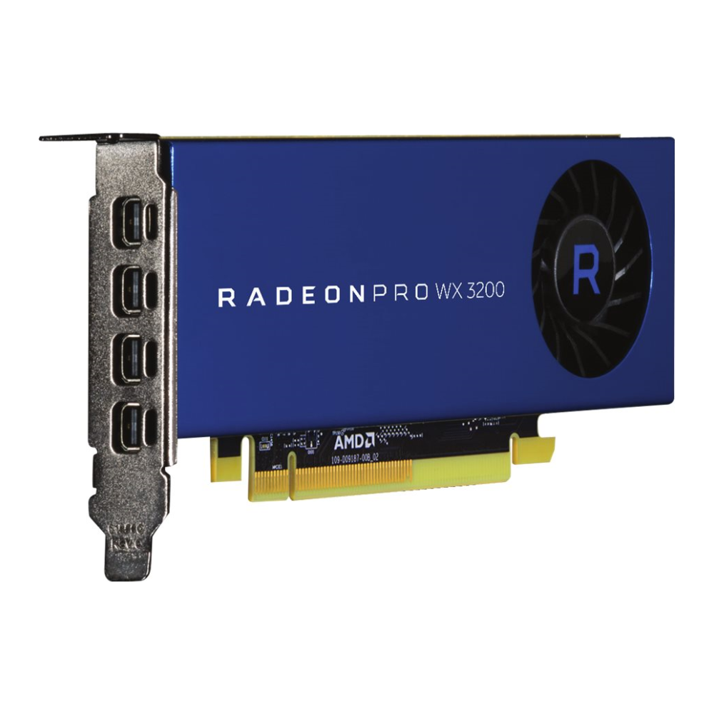 A large main feature product image of AMD Radeon Pro WX 3200 4GB GDDR5