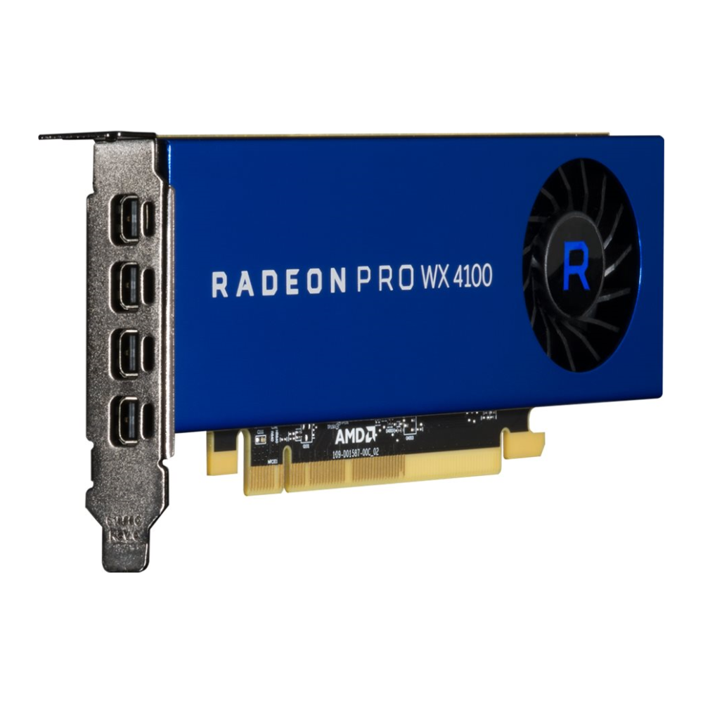 A large main feature product image of AMD Radeon Pro WX 4100 4GB GDDR5