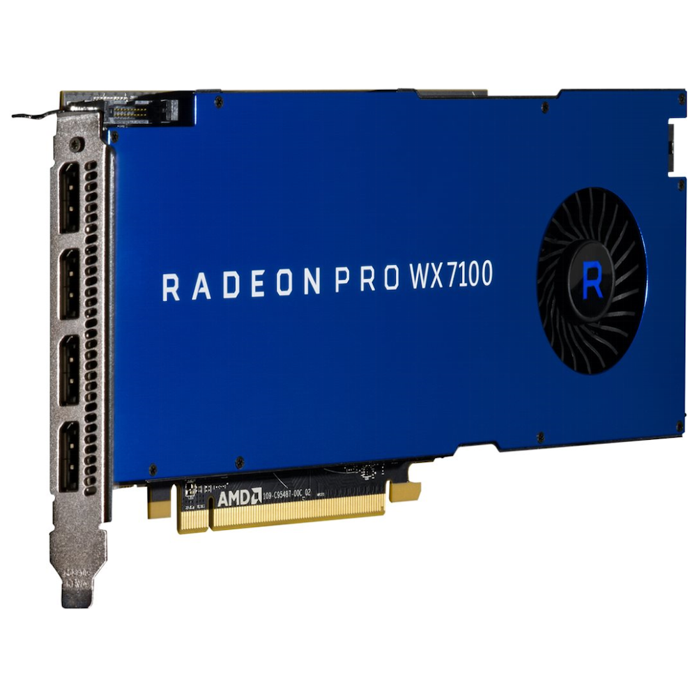 A large main feature product image of AMD Radeon Pro WX 7100 8GB GDDR5