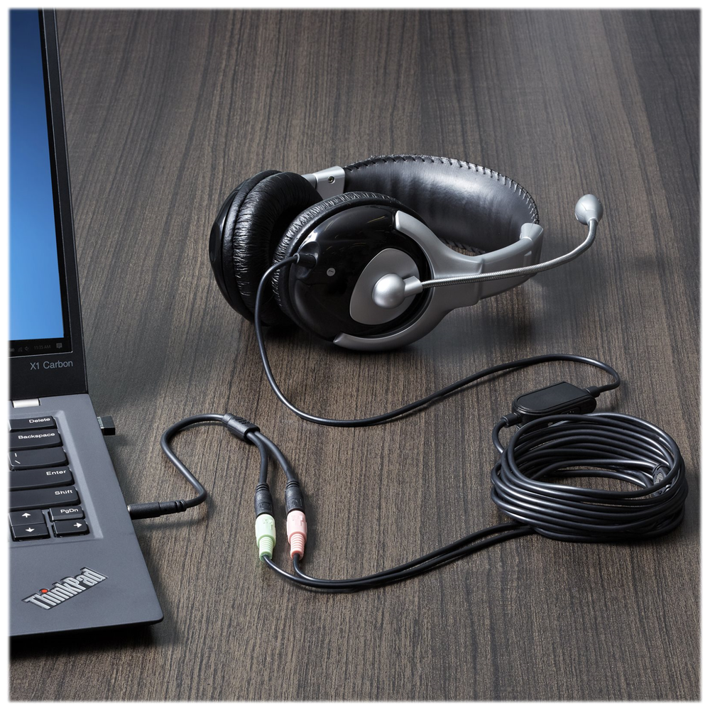 A large main feature product image of Startech Headset Adapter w/Headphone & Microphone Inputs