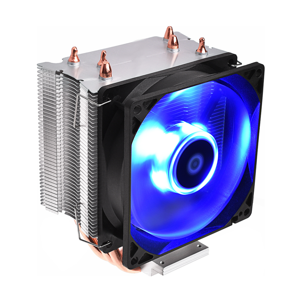 A large main feature product image of ID-COOLING Sweden Series SE-913-B PWM Blue LED CPU Cooler