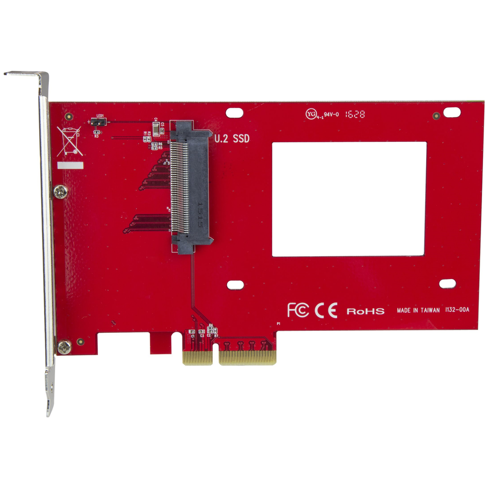 "A large main feature product image of Startech U.2 to PCIe Adapter - 2.5"" U.2 NVMe SSD - SFF-8639 - x4 PCIe"