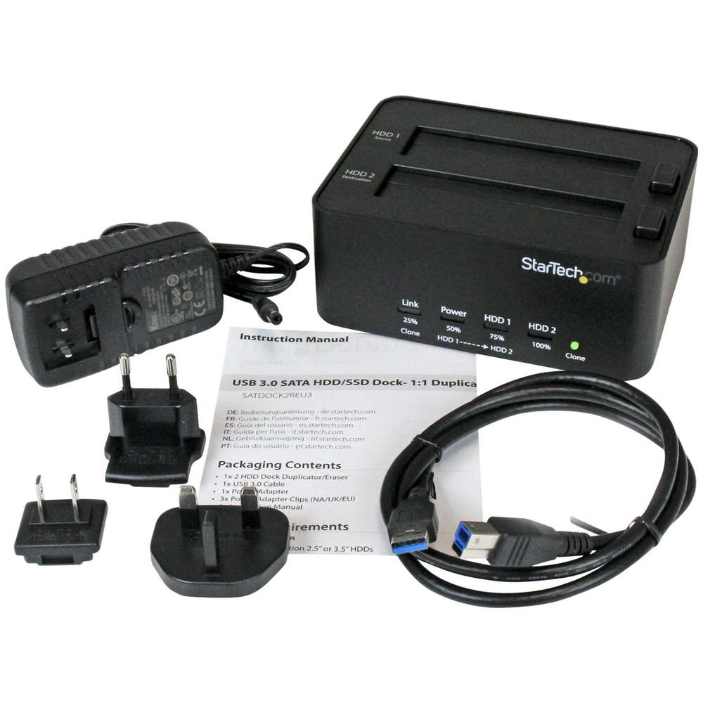 A large main feature product image of Startech USB3.0 to 2.5 / 3.5in SATA HDD Duplicator Dock and Eraser