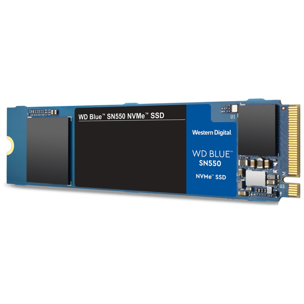 A large main feature product image of WD Blue SN550 500GB NVMe M.2 SSD