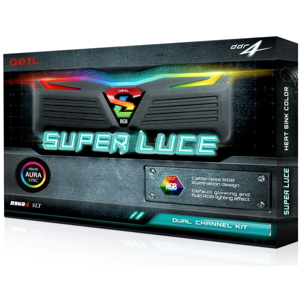 A large main feature product image of GeIL 32GB Kit (2x16GB) DDR4 SUPER LUCE RGB SYNC C16 3000MHz
