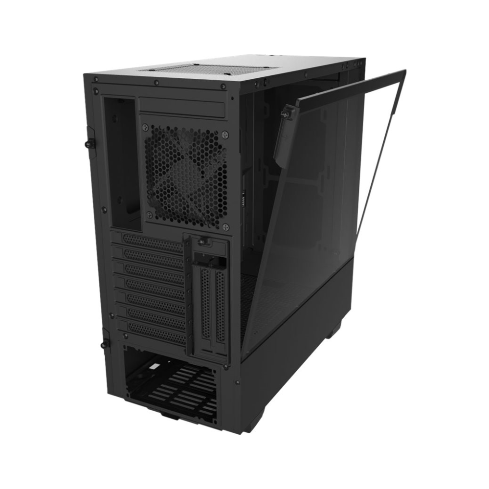 A large main feature product image of NZXT H510i Matte Black Smart Mid Tower Case w/Tempered Glass Side Panel