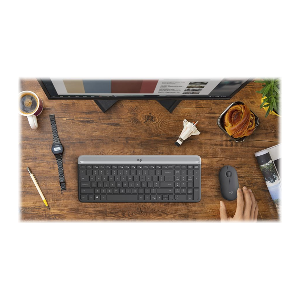 A large main feature product image of Logitech MK470 Slim Wireless Keyboard & Mouse Combo - Graphite
