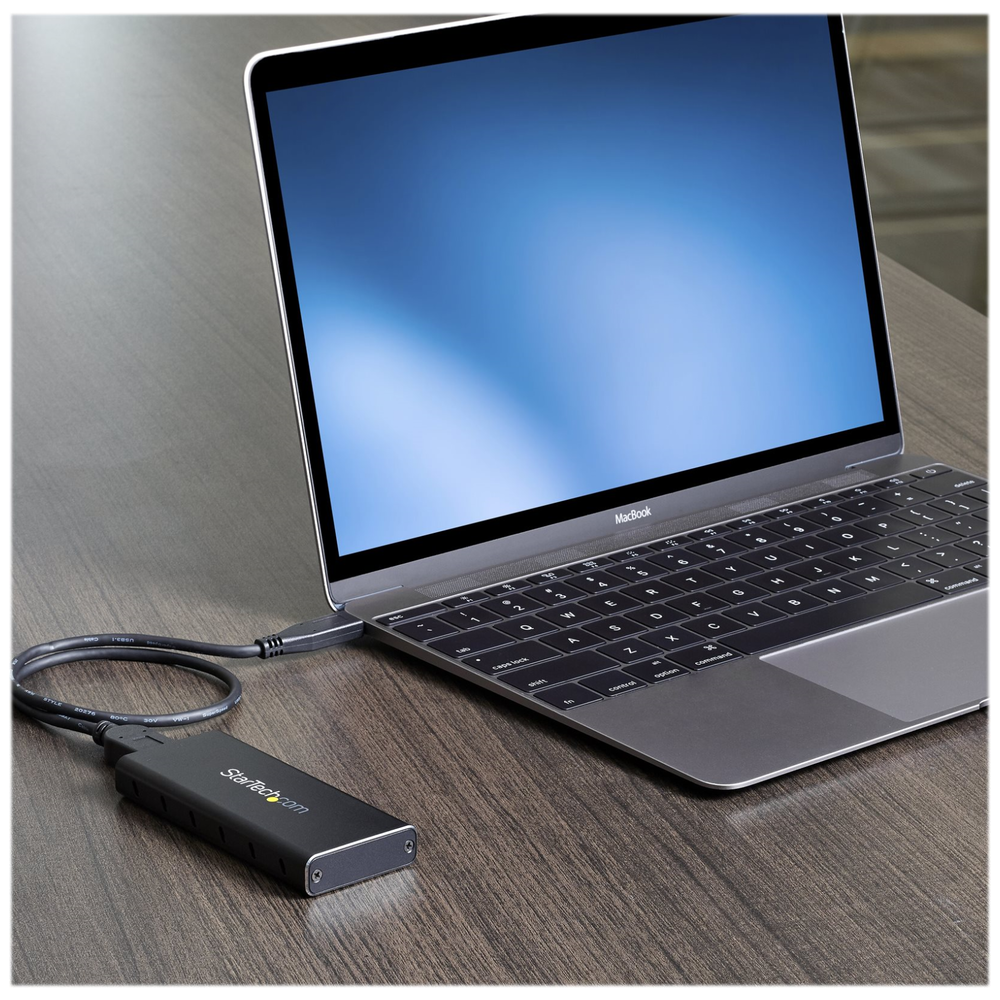 A large main feature product image of Startech Portable USB 3.1 M.2 SSD enclosure for USB C enabled host