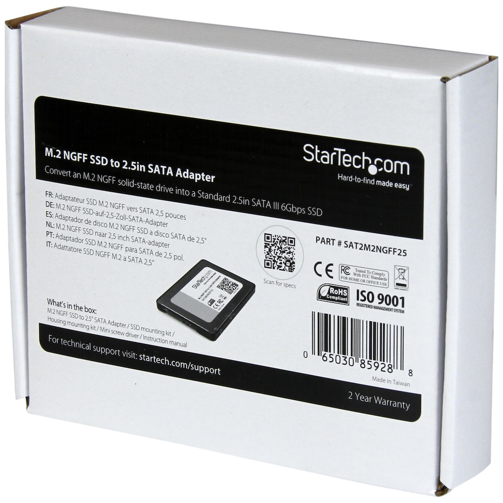 A large main feature product image of Startech M.2 NGFF to 2.5in SATA III SSD Adapter w/ Protective Housing