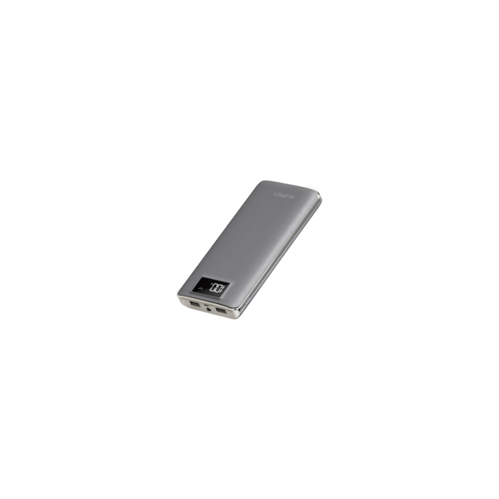 A large main feature product image of XiPin S12 11000mAh 5v 2A Power Bank w/ LCD Display - Grey
