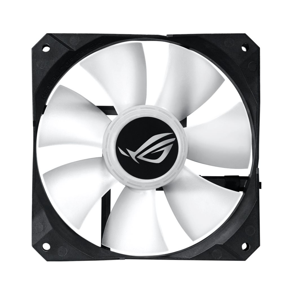 A large main feature product image of ASUS ROG Strix LC 120mm AIO Liquid Cooler