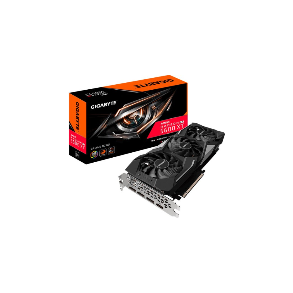 A large main feature product image of Gigabyte Radeon RX 5600 XT Gaming OC 6GB GDDR6