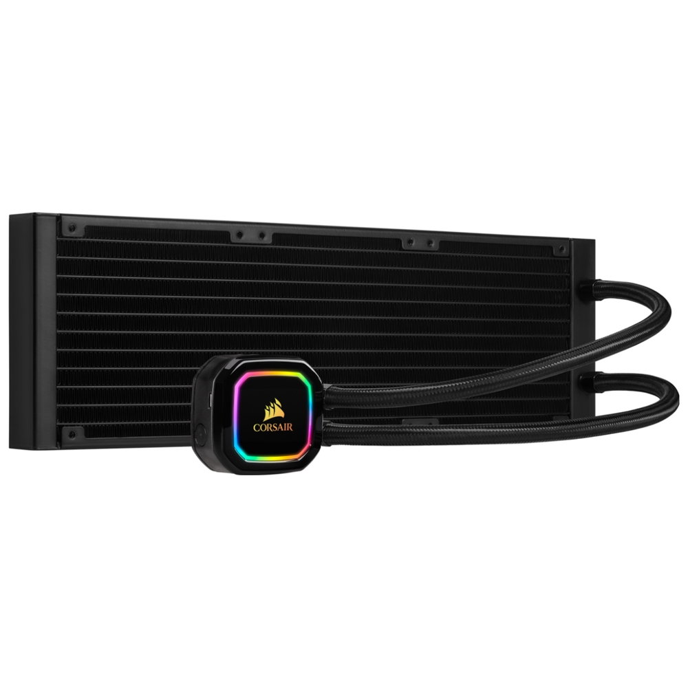 A large main feature product image of Corsair iCue H150i RGB Pro XT AIO Liquid CPU Cooler