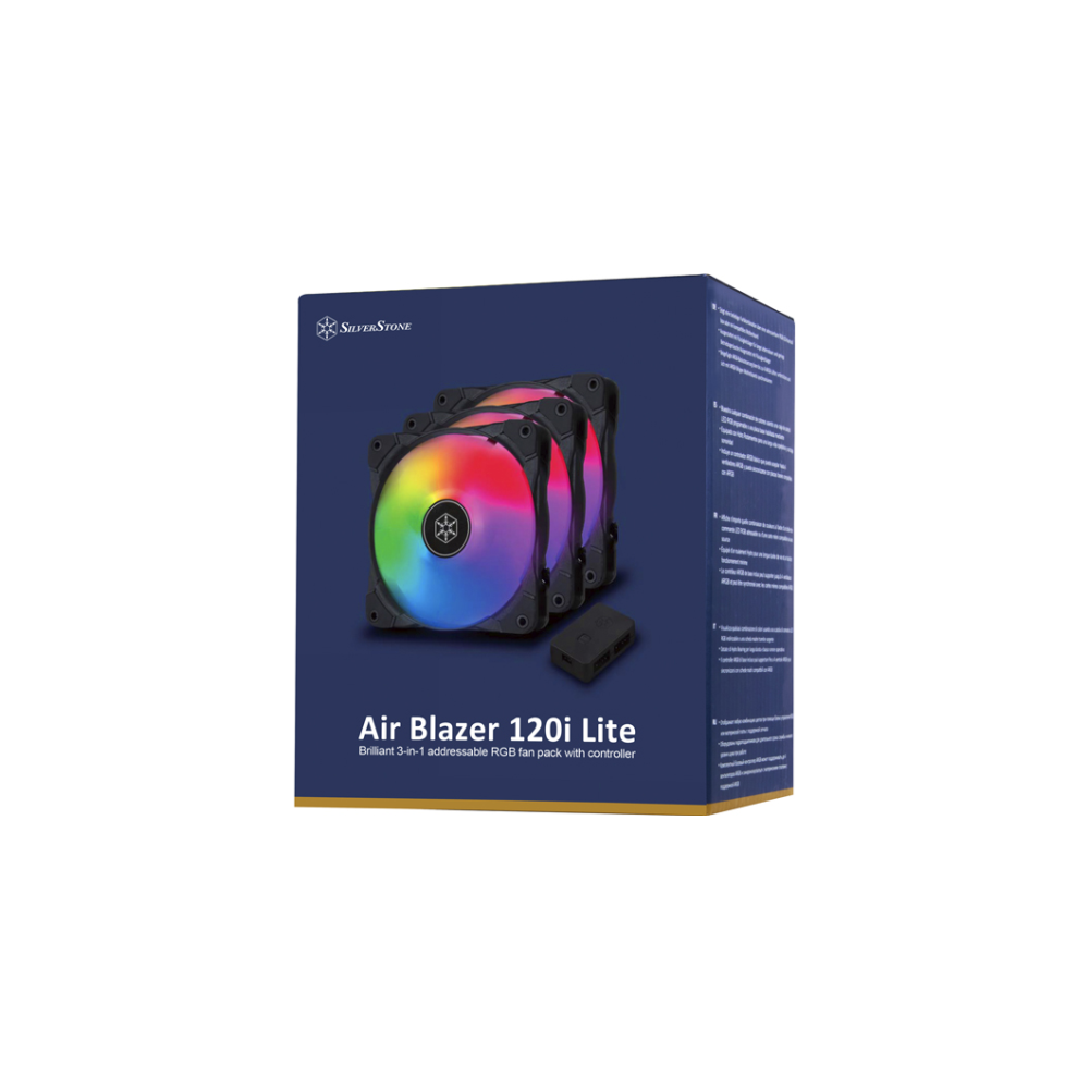 A large main feature product image of SilverStone Air Blazer 120i Lite RGB 120mm Fans - 3 Pack