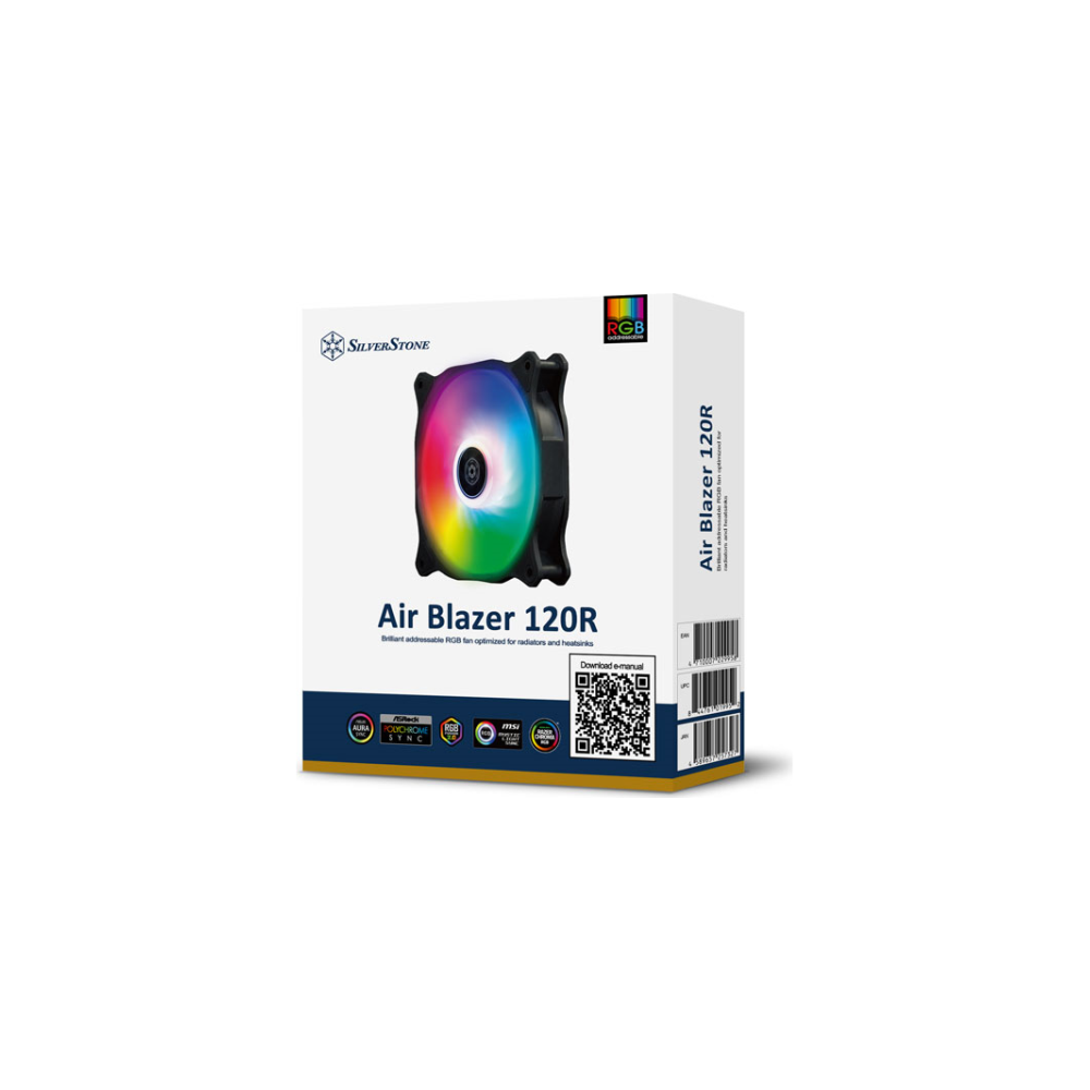 A large main feature product image of SilverStone Air Blazer 120R Addressable RGB 120mm Fan