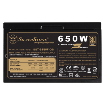 Product image of SilverStone Strider Gold S ST65F-GS 650W 80Plus Gold Fully Modular Power Supply - Click for product page of SilverStone Strider Gold S ST65F-GS 650W 80Plus Gold Fully Modular Power Supply