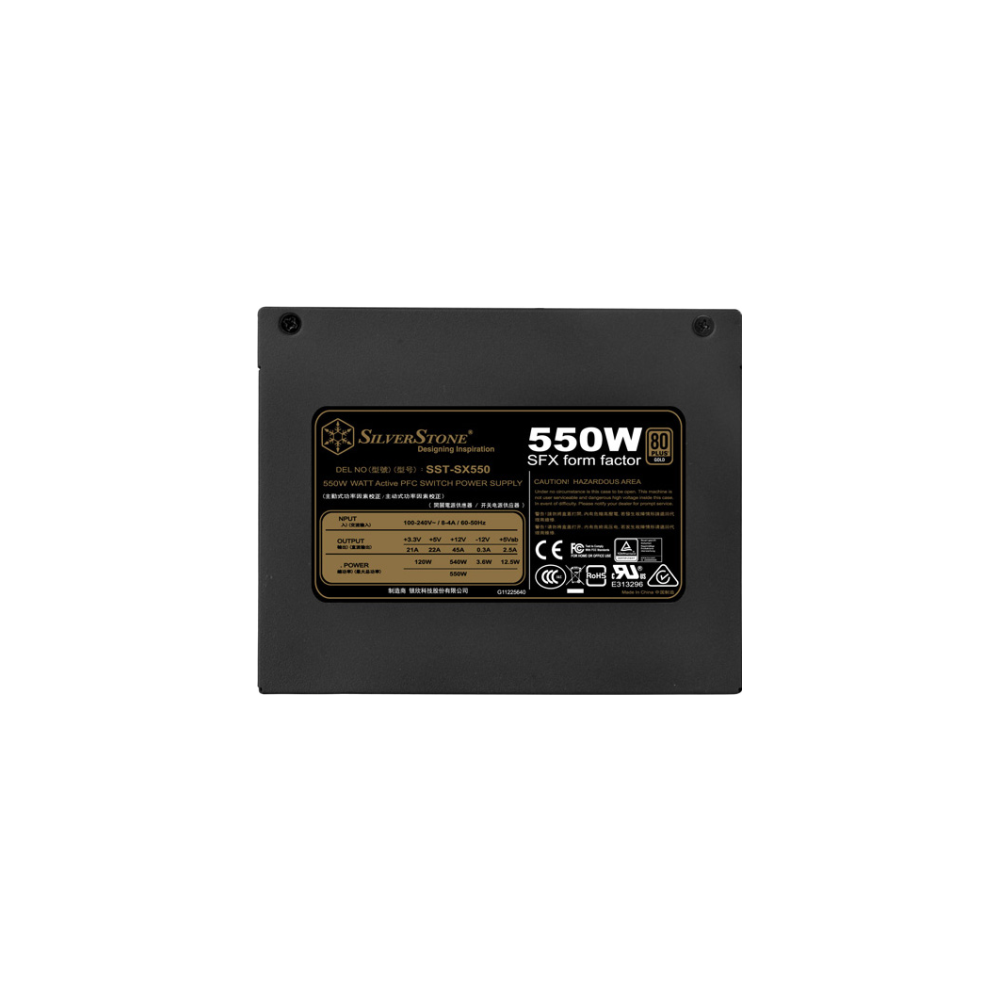 A large main feature product image of SilverStone SX550 550W 80Plus Gold SFX Power Supply