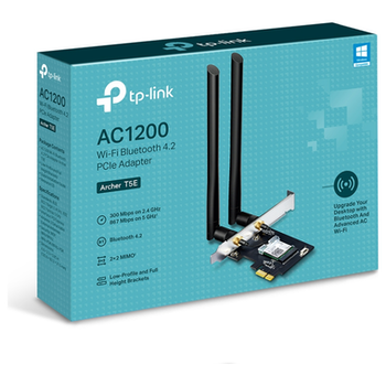 Product image of TP-LINK Archer T5E Dual Band AC1200 Wireless PCIe Adapter w/ Bluetooth v4.2 - Click for product page of TP-LINK Archer T5E Dual Band AC1200 Wireless PCIe Adapter w/ Bluetooth v4.2