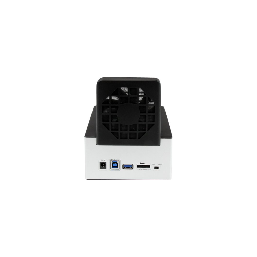 A large main feature product image of Startech USB 3.0 Dual SATA HDD Dock w/ Fast Charge Hub & UASP - Black