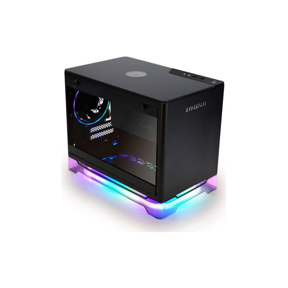 A large main feature product image of InWin A1 Plus Black Mini-ITX Case w/ Tempered Glass Side Panel