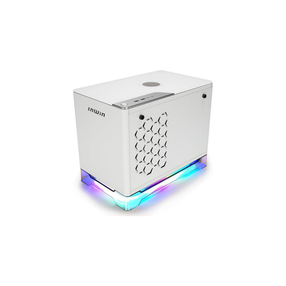 A large main feature product image of InWin A1 Plus White Mini-ITX Case w/ Tempered Glass Side Panel